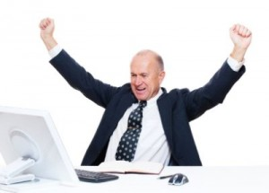 happy manager after winning a car online