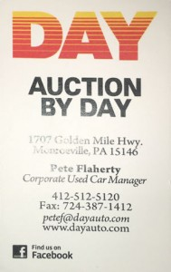 Pete Flaherty At Day Auto Hands out these special Auction Business Cards